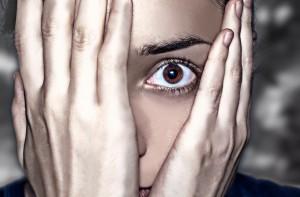 hiding in fear